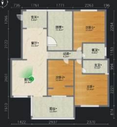 (东坡区)富力院士廷3室2厅1卫90m²毛坯房