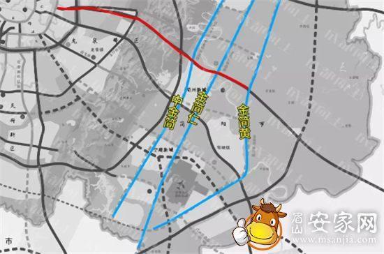 东西城市轴线东段与南北快速路相交线路走向图